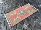 Turkish small rug, Handmade wool rug, Vintage rug, Doormat | 1,7 x 3,3 ft