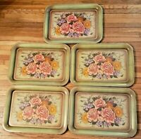 Set of 5 Mid-Century Modern Metal Serving Trays - TV/Lap/Patio - Roses & Flowers