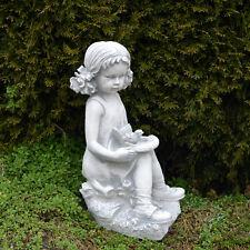 massif sculpture en pierre FILLE AVEC OISEAU Figure d'enfant