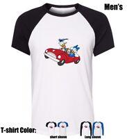 Disneys donald duck driving cars Partten Boy's men's Graphic T Shirt Tee Tops