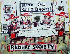 "Townsend TN  ""RED HATS AT SISTER CATS"" fun Folk Art cat print  Mike Creech 11x14"