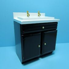 Dollhouse Miniature Kitchen Sink with Cabinet in Black ~ T5609