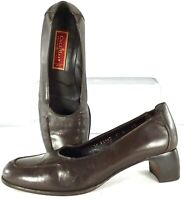 Cole Haan City Loafer Pump Womens Sz 9.5 B Brown Leather Slip On Heel Shoe Italy