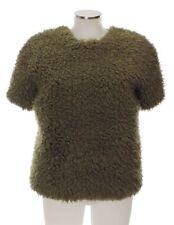 Kenzo 36 (F) 34 (D) Pullover khaki kurzarm Webpelz Acryl Baumwolle top