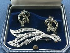 Earrings and Brooch circa 1935 Super Art Deco Vintage Marcasite