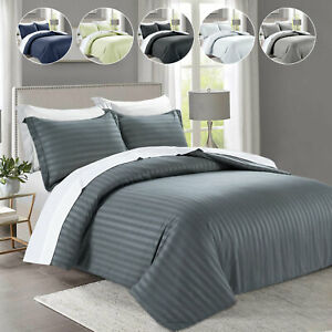 Luxury Reversible Bedding Set Striped Duvet Cover With  Pillow Cases All Sizes
