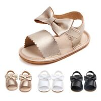 Summer Baby Girl Sandals PU Soft Shoes With Bow-knot Infant Anti-slip Prewalkers