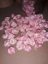 100 small ribbon roses (pink)