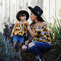 Mother and Daughter Summer Flower Tops T-Shirt Blouse Matching Family Clothes UK