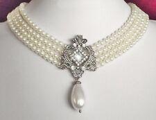 Edles Perlen Collier mit Strass Ornament und Tropfenperle, Perlenkette GESCHENK
