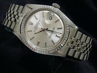 Rolex Datejust Mens Stainless Steel Watch w/ Silver Stick Dial Jubilee Band 1603