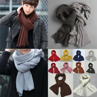 Men Solid Scarf Knit Cashmere Unisex Women Thick Warm Winter Long Size Scarves