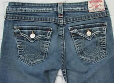 Womans True Religion Joey Flare Jeans Gold Stitching Size 29 Distressed
