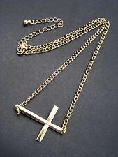"$16 Nordstrom Sideways Cross Fashion Necklace Goldtone Metal 19"" Chain"