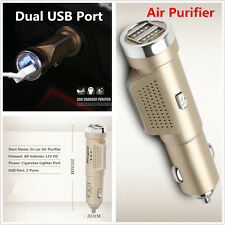 12V Car Cigarette Lighter Air Fresh Ionic Purifier Oxygen With Dual USB Charger