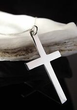 Sterling Silver 925 Jewellery Large Plain Cross Pendant 18 Inch Necklace Chain