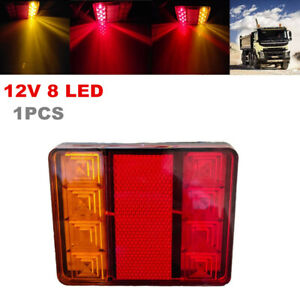 Trailer Engineering Vehicle Truck 12V 8LED Rear Tail Light Waterproof Red Yellow