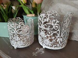 Windlicht klein antik weiß Kerzen Metall Ornamente Laterne Vintage und Shabby