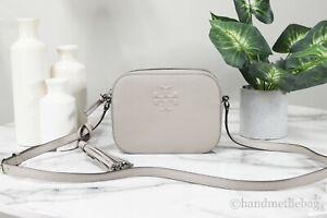 Tory Burch (67287) Thea Pebble Leather Camera Crossbody Bag French Gray Handbag