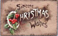 1908 TUCK Christmas Series C.1056 Sincere Christmas Wished Embossed Postcard DA