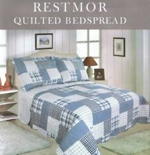 DOUBLE SIZE RESTMOR MULTI BLUE PATCHWORK CHECK QUILTED BEDSPREAD THROW ONLY
