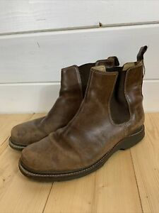 L L BEAN Brown Leather Ankle Boots Size 9 Us Flat Riding Chelsea Women's