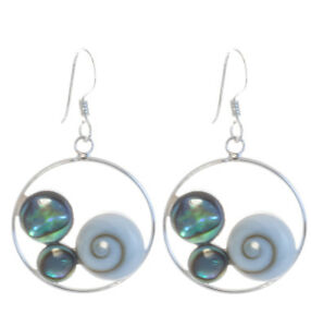 Ohrringe mit Shiva Auge u Abalone Paua Muschel 925 Sterling Silber Bella Carina