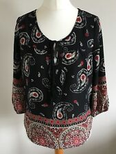 Jennifer Taylor Size XS, Ladies Black Tunic Top With Red Brown & Cream Print