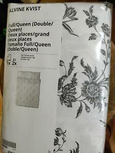 IKEA ALVINE KVIST Duvet Cover Set GRAY WHITE FLORAL TOILE TWIN QUEEN KING FREESH