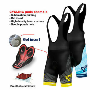 FDX Mens Pro Cycling Bib Shorts 3D Gel Padded Cycling Pants Sublimation Shorts
