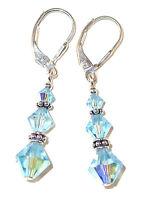 AQUAMARINE Aqua Blue Crystal Earrings Sterling Silver Earrings Swarovski Element