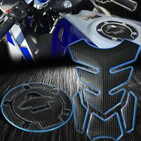 4PC Perforated Black Tank Pad+Gas/Fuel Cap Cover 14-20 Yamaha YZF R3 Chrome Blue