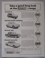 1965 Renault 4L, Gordini Daphine, 1100 & Caravelle Original advert No.1