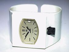 Vintage FRANCE White Plastic Fashion Cuff Windup Wristwatch w/ Skeleton Back