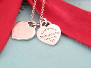 Tiffany & Co Silver Double Return To Heart Necklace