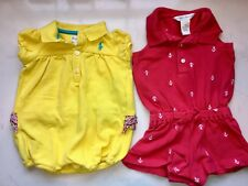 Lot of 2 Ralph Lauren Polo 3m 6m Romper Outfit Bubble Sunsuit Pony Red Yellow