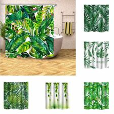 Waterproof Polyester Bathroom Shower Curtain Tropical Plants Green Leaves Print