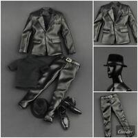 "1/6 Men Leather Jacket Suit Set For 12"" Hot Toys TBLeaghe PHICEN Male Figure"