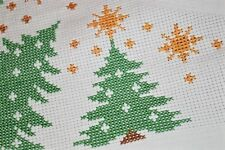 A MODERN TOUCH OF CHRISTMAS TREES & STARS OF CHRIST! VINTAGE GERMAN TABLECLOTH