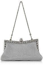 Silver Women Sparkly Crystal Satin Bridal Prom Evening Clutch Handbag Purse Gift