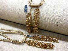 2 Beaded tassel Curtain rope Tie Backs Monaco HB200 Fabric Medium size Tiebacks