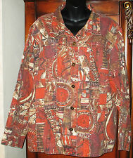 Chico's Size 3 Multi-Color Jacket 7 Button Long Sleeve Womens Large 16/18