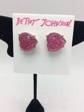 $25 Betsey Johnson glitter heart earrings F13