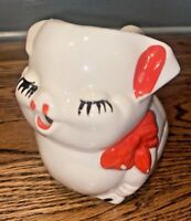 Vintage American Bisque Creamer Pitcher Smiley Pig with Red Bow 5288