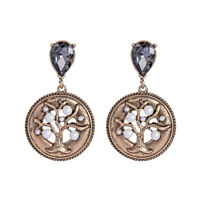 Earrings Nails Golden Disc Engraving Tree Pearl Crystal Grey Retro AA31