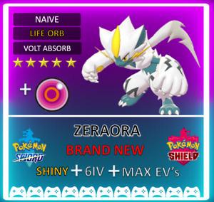 Pokemon Sword & Shield 6IV SHINY EVENT ZERAORA! MAX EV 6IV! BRAND NEW!