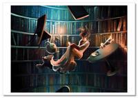 Magic world of Books Tea party Fantasy by Cyril Rolando Russian Modern Postcard
