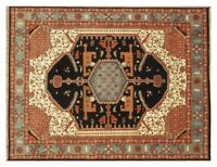 Traditional Rug deals Hand-Knotted Rug Wool 8' x 10' Black Serapi Rug
