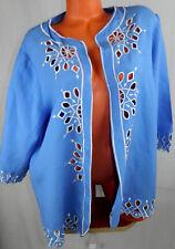 BOB MACKIE Wearable Art BLAZER Open JACKET 1X 16 18 Floral BLUE White LINEN   o