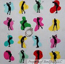 BonEful Fabric FQ Cotton Quilt B&W VTG GOLF Sport Men Lady Retro Club Ball Print